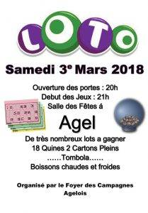 LOTO du Foyer des Campagnes @ Salle Communale | Agel | Occitanie | France