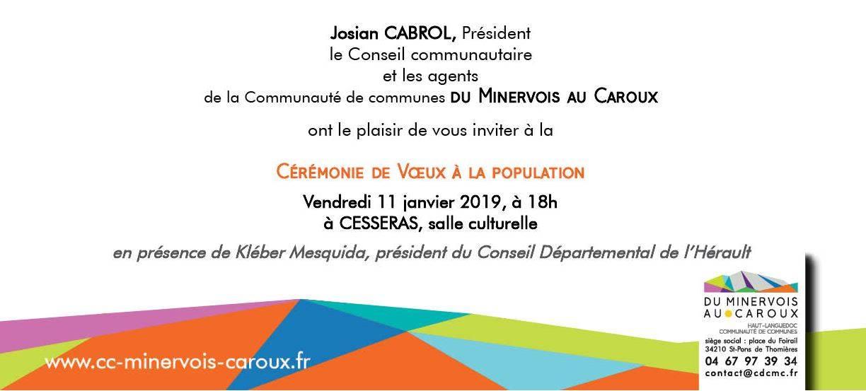 Vœux de la Communauté de Communes Du Minervois Au Caroux @ Cesseras