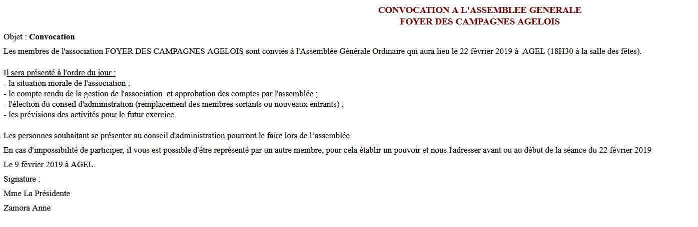 Assemblée Générale du Foyer des Campagnes Agelois @ Salle communale